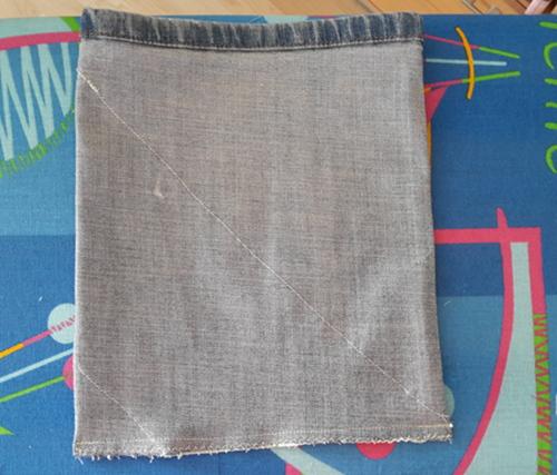 Dann dreht man das ganze auf links, bügelt einmal drüber und näht die Tasche unten zu.