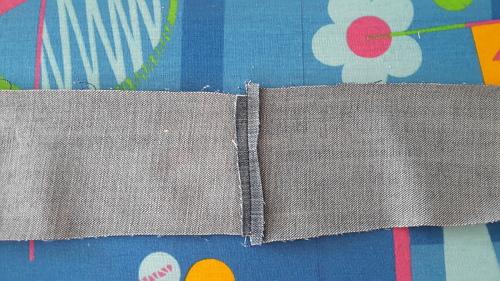 Diese näht man erst an einer kurzen Seite rechts auf rechts aneinander und bügelt die Nahtzugabe auseinander.